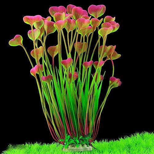 Minerlele - Plantas artificiales de acuario de plástico para decoración de peceras, diseño de plantas grandes, seguro para todos los peces de 18 cm de ancho (rojo vino)