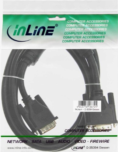 InLine 17762 DVI-D Kabel, digital 18+1 Stecker / Stecker, Single Link, 2 Ferrite, 2m
