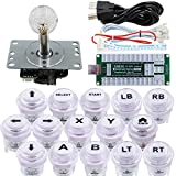 SJ@JX Arcade Game Controller USB Encoder DIY Kit LED Cherry MX Microswitch Lamp Button 4-8way LED Joystick Gamepad Code Board for Xbox 360 Nintendo Switch Hit Box Raspberry Pi PS3 PC Andriod