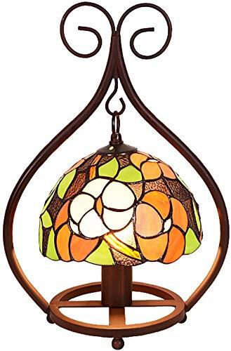 XHLLX Lampada da Scrivania Decorativa, Lampade da Tavolo con Paralume in Vetro Colorato, Lampade da Comodino Art Déco per Camera da Letto per Bambini, per Soggiorno Lampada da Lettura per Ufficio