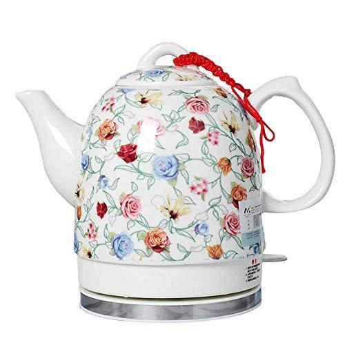 Hervidor de té inalámbrico de cerámica EleActric de 1,5 l, 1350 W rápido de Agua para té, café, Sopa, Base extraíble de Avena, protección para hervir en seco
