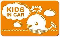 imoninn KIDS in car ステッカー 【マグネットタイプ】 No.33 クジラさん (オレンジ色)