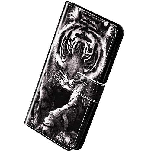 Herbests Kompatibel mit Huawei Mate 20 Lite Handyhülle Hülle Flip Case Bunt Muster Leder Tasche Schutzhülle Klappbar Bookstyle Lederhülle Ledertasche mit Magnet Kartenfach,Löwe