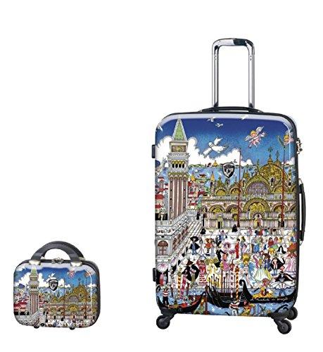 Kofferset, Gepäckset, Reisegepäck by Heys - Premium Designer Hartschalen Kofferset 2 TLG. - Künstler Fazzino Venezia Koffer mit 4 Rollen Gross + Beauty Case
