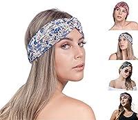 SEGALA 4 Pack Women Boho Headband Bohemian Floral Style Knot Hairwrap Flower Printing Twisted Criss Cross Stretchy Hairband 商品カテゴリー: ヘアアクセサリー [並行輸入品]