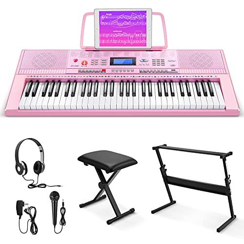 Eastar EK620S Kit de Teclado Piano Electrico 61 Teclas, Organo Electronico Piano Digital Professional con Soporte de Piano/Banco/Atril de Partituras/Micrófono, LCD (Rosa)