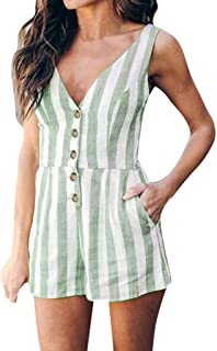 Juesi Women's Playsuits, Casual V Neck Sleeveless Button Down Stripes Short Romper Jumpsuit