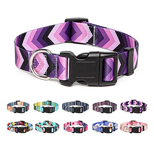Suredoo Collar Perro, Ajustable y Resistente con Patrones de Moda, Collar Nylon Cómodos para Perros Pequeños Medianos Grandes, Cachorros (S, Flecha)
