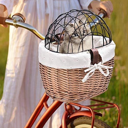 SXFYHXY Cesta de Bicicleta para Perros, Cesta de Manillar Frontal Cesta para Mascotas Cesta de Bicicleta Cesta de Bicicleta Tejida de Mimbre con Cubierta de Metal