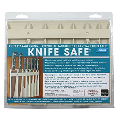 Camco Knife Safe - Securely Mounts on Wood or Metal Surfaces, Holds 7 Cooking and Carving Knives, Organize and Store Knives While Creating Space - (9  x 11 ) Beige (43583)