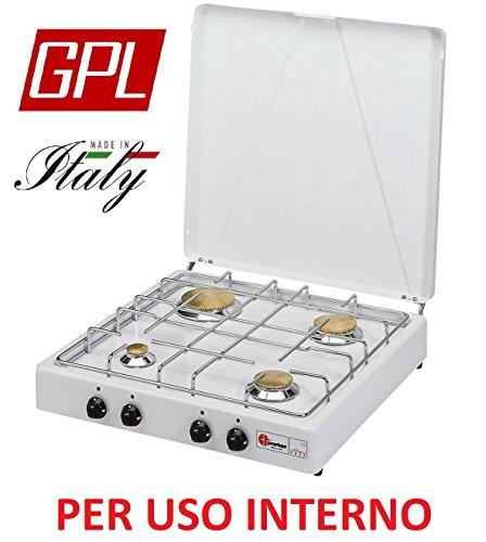 Gaskocher sicherheitsöffnungsventil Parker A GAS GPL (Gas in Gasflaschen) mit 4flammig Farbe Weiß und Schwarz–für Verwendung Innen -