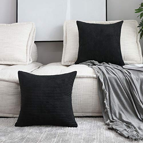 Home Brilliant Decor Striped Velvet Cushion Cover for Chair Supersoft Handmade Decorative Pillowcase for Bed Bench, Black,2 Packs 20'x20'(50cm)