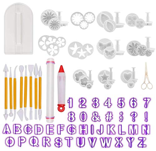 Fondant Tools - Fondant Cake Sugarcraft Alphabet Letters Cutters Cake Decorating Tools Cutters Icing Modelling Tool Kit Rolling Pin, Smoother, Embosser Mould Tools,Scissors