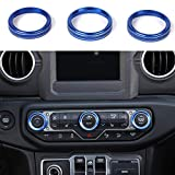 JeCar Air Conditioner Switch Knob Cover Interior Trim Kits for 2018 2019 2020 2021 Jeep Wrangler JL JLU & 2020 Jeep Gladiators JT, Blue