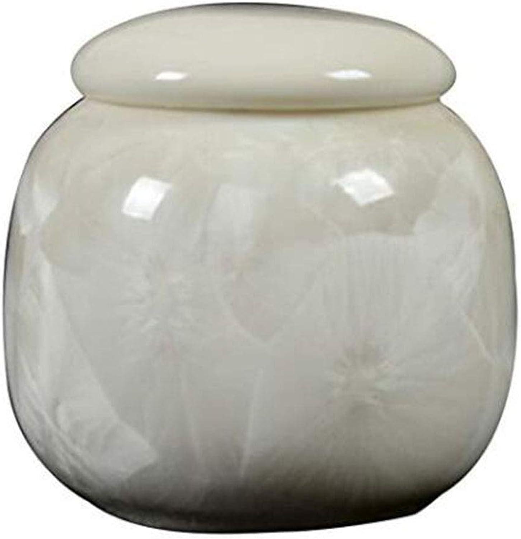 Pet urn Handmade Ceramic Seal AntiCorrosion Cremation Commemorative Medium Dog and cat Storage Tank White