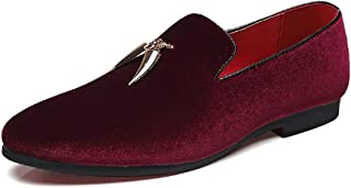 ZHANGLEI Oxfords for Men Fashion Loafers Pointed Toe Slip on Suede Upper Anti-Slip Metal Tassel Solid Color Flat Heel Durable (Color : Wine red, Size : 10 UK)