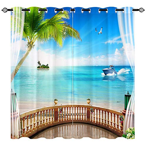 ANHOPE Beach Curtains, 3D Printed Semi Blackout Curtains with Wooden Balcony and Coconut Tree Seagull Yacht Island Beach Patterns, Grommet Privacy Curtain for Living Room, 2 Panels, 52 x 54 Inch
