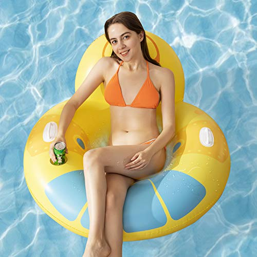 Inflatable Swimming Pool Float,Multi-Purpose Pool Lounge Float Hammock with Cup Holder and...