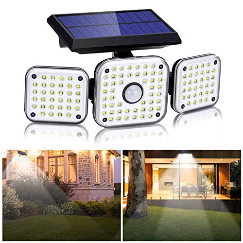 Solarlampen für Außen mit Bewegungsmelder,112LED Solarleuchten Aussen 270°Beleuchtungswinkel Solar Strahler IP65 Wasserdichte 3 Modi Drehbare Solar Außenwandleuchten für Garten,Balkon Garage(1 Stück )