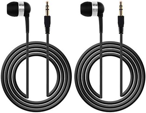 2 Pcs 3 5mm in Ear Single Sided Earphones Black 1 2m 4Ft Mono Earbud Wired Headset Headphone product image