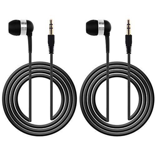 2 auriculares intraurales de 3,5 mm, color negro, de 1,2 m, mono con cable, para teléfonos móviles MP3, MP4, portátil, de un solo lado