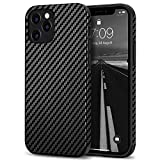 Tasikar Compatible with iPhone 12 Case/iPhone 12 Pro Case Carbon Fiber Leather Design with TPU Hybrid Slim Case (Black)