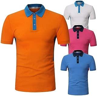 LUKEEXIN Men's Slim Paneled Short Sleeve Polo Shirt