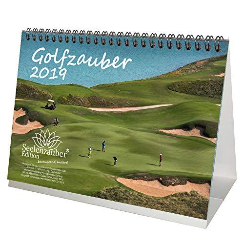 Golfmagie · DIN A5 · Premium tafelkalender/kalender 2019 · Golf · Sport · Afslag · Handicap · Greenfee · Clubhuis · Set met 1 wenskaart en 1 kerstkaart · Edition Zelmagie