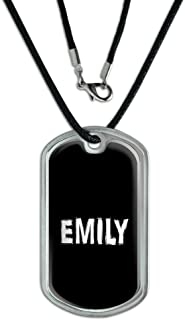 Graphics and More Emily - Name Military Dog Tag Black Cord Necklace