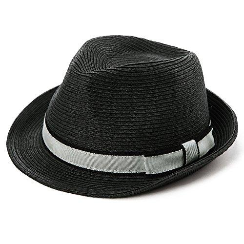 Comhats Comhats Unisex Sonnenhut Stroh Panama Fedora Strandhut Kurze Krempe schwarz M