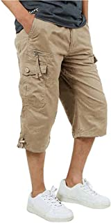 FASKUNOIE Men's 3/4 Cotton Cargo Short Pants Casual Loose Fit Outdoor Capri Long Shorts with Seven Pockets