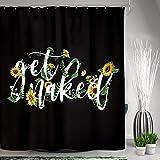 SVBright Get Naked Sonnenblumen-Duschvorhang mit gelbem Blumenmuster, kreative Schriftarten 152 x 183 cm, lustiges Kunstwerk, schwarzer Boden, 12 Haken, Polyester, Badezimmer, Badewannenpaneele