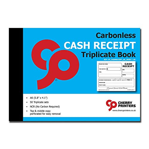 Cherry Carbonless Cash Receipt Book, 3-Part, with Loose-Leaf Writing Shield, A6 (4.1 x 5.8 Inches) 50 Sets, Unnumbered
