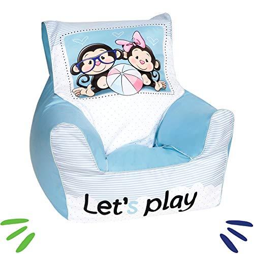 DELSIT Kindersitzsack Kinder Sitzsack Spielzimmer Kindermöbel für Mädchen LET'S PLAY Blau