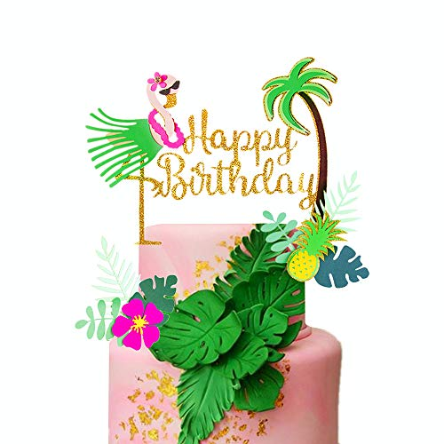 JeVenis 3er Set Glitzer Flamingo Happy Birthday Cake Topper Ananas Kuchen Dekoration für Tropische hawaiianische Luau Motto Party Supplies