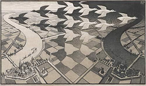 Berkin Arts M.C. Escher Giclée Tela Stampa La Pittura Poster Riproduzione(Giorno e Notte)