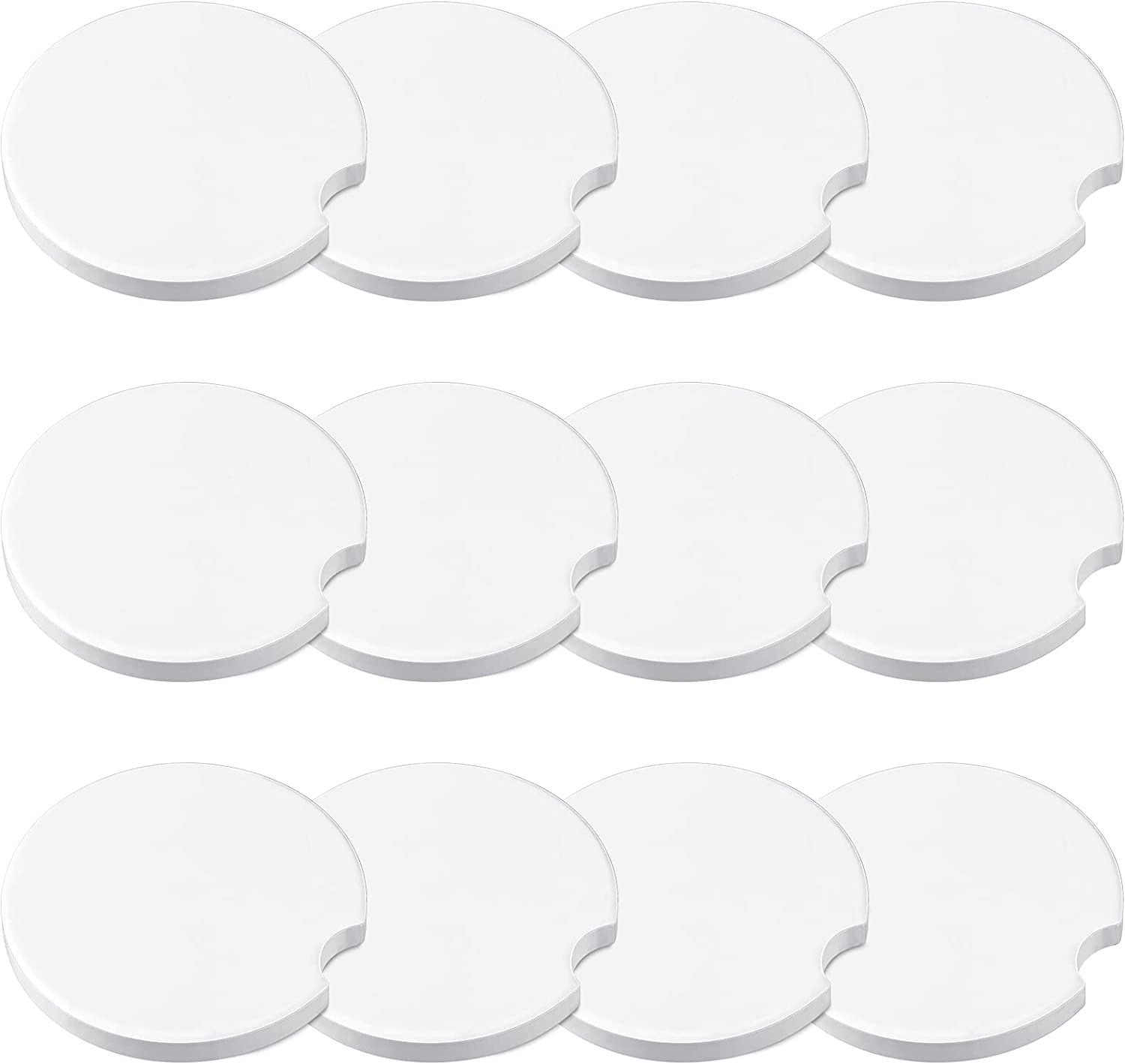 12 Pieces Sublimation Blank Dealing full Fashionable price reduction Car Cup Coasters Notch A with Finger