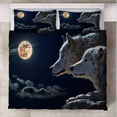 Set De Funda Nórdica Lobo a la luz de la Luna Moderno De Poliéster-Algodón Juego De Cama para Fundas De Almohada con Estampado 3D Funda De Edredón 220cm x 230cm