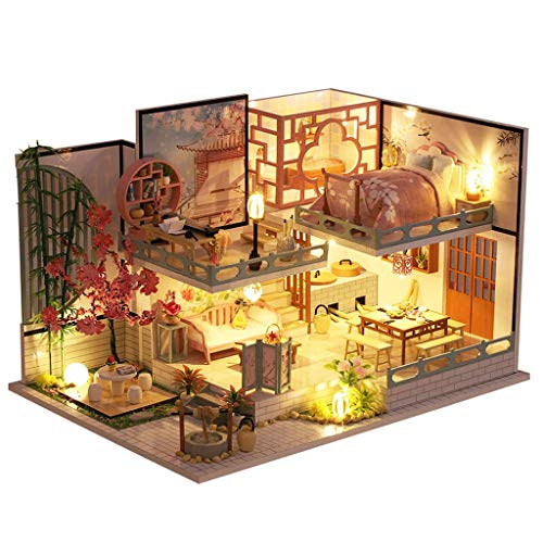 YUTRD ZCJUX DIY Wooden Dollhouse Japanese Loft Cherry Blossoms Kit Assembled Miniature 3D Doll House Toys for Children Adult