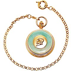 Nature Emerald Jade Gold Dragon Pocket Watch Vintage Roman Numerals Quartz Watch with Chain As Xmas Day Gift,1 #3
