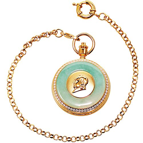 Nature Emerald Jade Gold Dragon Pocket Watch Vintage Roman Numerals Quartz Watch with Chain As Xmas Day Gift,1 steampunk buy now online
