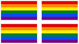 dealzEpic - Rainbow Flag/Gay Pride Symbol Sign - Self Adhesive Peel and Stick Vinyl Mac Decal/Car Bumper Sticker - 3.94 x 2.13 inches | Pack of 4 Pcs