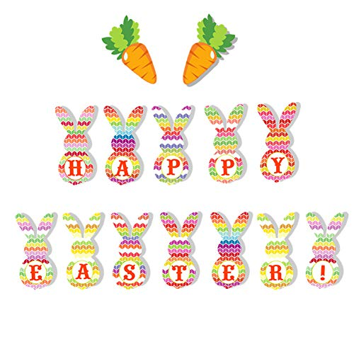 Easter Fabric Bunting Banner, Easter Rabbit Garland Colorful Party Flag for Easter Celebration Decoration