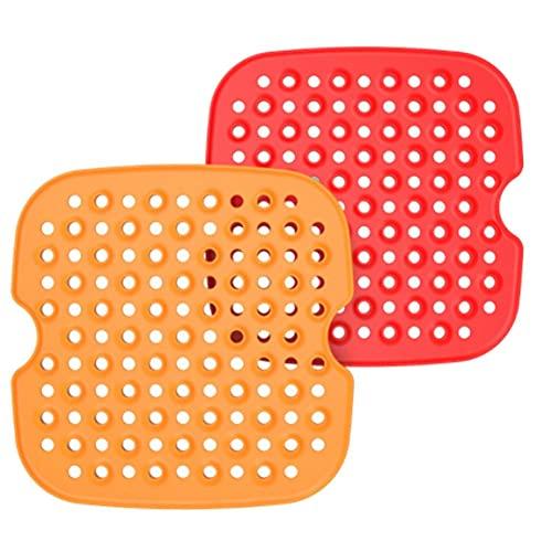 Silicona Aire Fryer Mats Resistente al calor 8.5 pulgadas cuadradas Plaza Fáciles de fregarse Liners 2 unids, Pad Freidor de aire de silicona