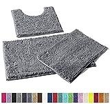 LuxUrux Bathroom Rugs 3 Pieces Set Grey, Non-Slip Shaggy Bathroom Mat Set, Includes U-Shaped Contour Toilet Mat, 20 x 30'' and 16 x 24'' Bath Mat, Machine Washable (3 Pc Set - Style A, Light Grey)