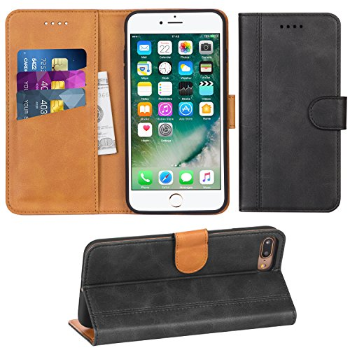 Adicase iPhone 7 Plus Hülle Leder Wallet Tasche Flip Hülle Handyhülle Schutzhülle für Apple iPhone 7 Plus / 8 Plus 5,5 Zoll (Dunkelgrau)