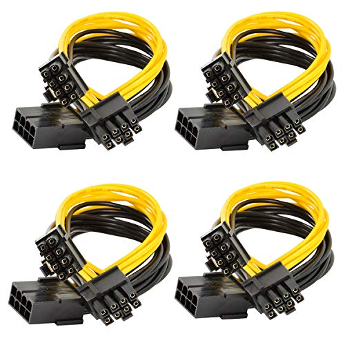 Xhwykzz GPU 8-polig PCI-E bis 2 PCI-E 8-polig (6-polig + 2-polig) Stromkabel, für Grafikkarte GPU Molex BTC Miner(4 Stück)