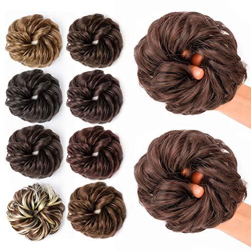 JessLab Postizos de Pelo, 2 Pcs Hair Bun Scrunchie Messy Bun Peluca Pelo Natural Coletas Postizas Extensiones de Cabello Pelucas y Accesorios Postizos para Mujeres Chica Damas (33# - 2 Packs)