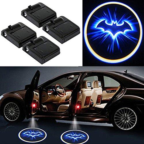 LED Auto Projektor, 4 Stück Autotür Willkommen Skull Logo Light Muster Schatten Licht, Universal Drahtlose Wireless Magnetisch Sensor Schatten Logo Licht für Autotür (bat)