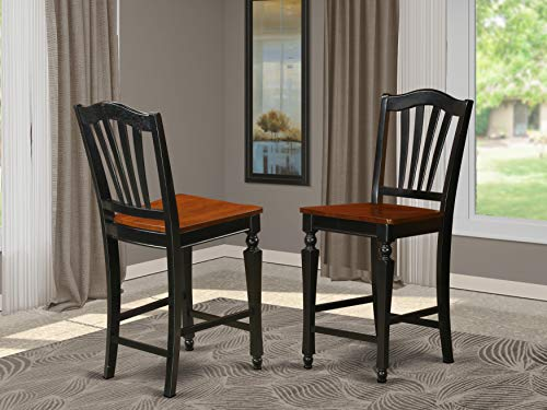 East-West Furniture Chelsea Stools modern counter height chairs- Wooden Seat and Black Hardwood Structure bar stools set of 2